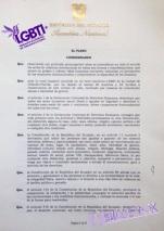 Resolución del reconocimiento 27 de Noviembre 2016 como el día Nacional de las Diversidades Sexo Genéricas LGBT Ecuador - Gracias a la Federación ecuatoriana de organizaciones LGBT y Asoc. Silueta X