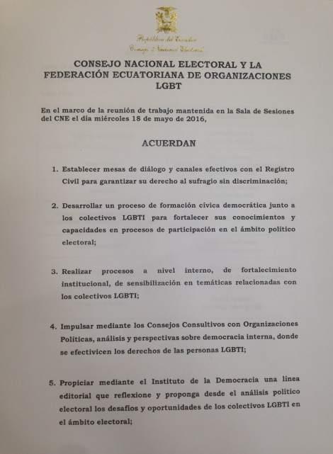 Acta del acuerdo entre consejo nacional electoral y federacion ecuatoriana de organizaciones lgbt