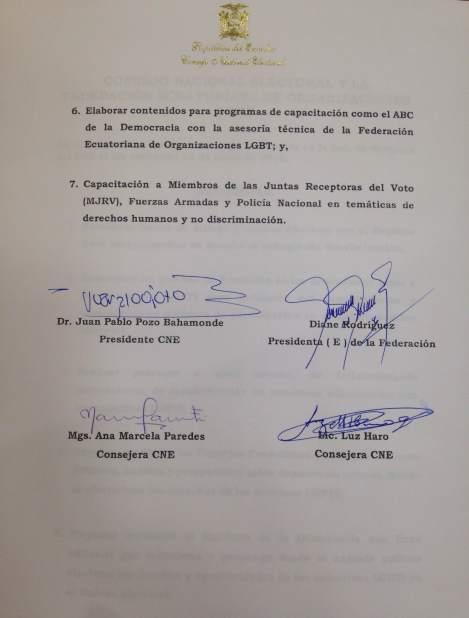 Acta del acuerdo entre consejo nacional electoral y federacion ecuatoriana de organizaciones lgbti