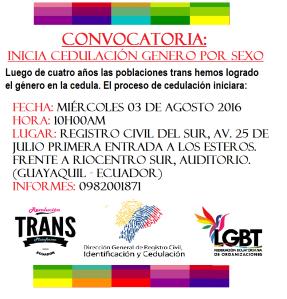Cambio de sexo por genero en ecuador inicio el 3 de agosto federacion ecuatoriana de organizaciones lgbt revolucioon trans ecud¡ador plataforma