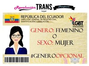 Genero por Sexo un logro trans en ecuador por la federación de organizaciones lgbti