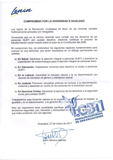 Compromiso Lenin Moreno con los GLGBTI