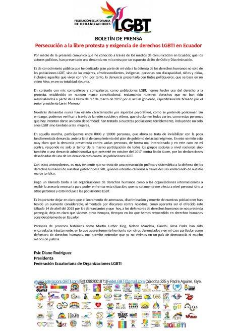 Persecución a la libre protesta y exigencia de derechos LGBTI en Ecuador - Judialización 2018 activistas Federación