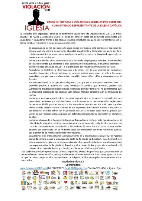 Casos de abuso sexual, violación y tortura de la iglesia catolica de Ecuador - Asociación Silueta X - Federación Ecuatoriana de organizaciones LGBTI