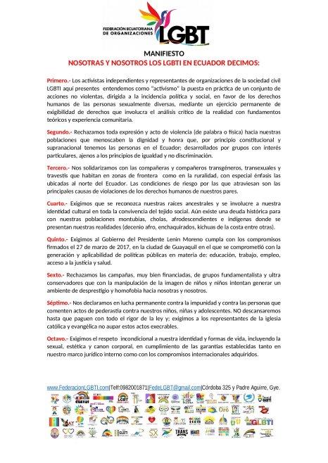 MANIFIESTO, NOSOTRAS Y NOSOTROS LOS LGBTI EN ECUADOR DECIMOS - Federación Ecuatoriana de Organizaciones GLBTI (2)