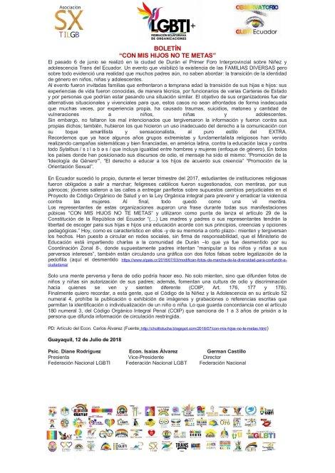 Boletín Con Mis Hijos No Te Metas - Federación Ecuatoriana de Organizaciones LGBTI