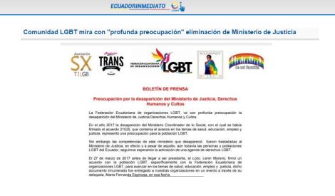 Comunidad LGBT mira con profunda preocupación eliminación de Ministerio de Justicia-Asociacion Silueta X-Federacion ecuatoriana LGBTI-Plataforma Revolucion Trans