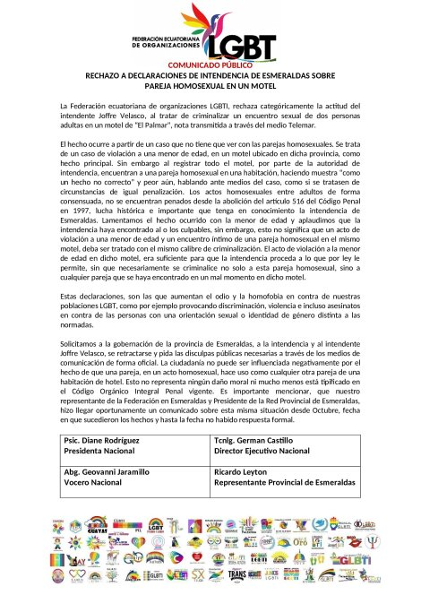 Boletin de Prensa - RECHAZO A DECLARACIONES DE INTENDENCIA DE ESMERALDAS SOBRE PAREJA HOMOSEXUAL EN UN MOTEL DE PALMAR - Federación ecuatoriana de organizaciones LGBT