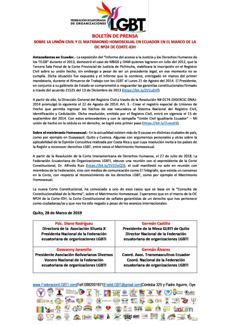 Boletín de Prensa - SOBRE LA UNIÓN CIVIL Y EL MATRIMONIO HOMOSEXUAL EN ECUADOR EN EL MARCO DE LA OC Nº24 DE CORTE-IDH
