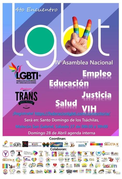 4to Encuentro Nacional de la Federación Ecuatoriana de Organizaciones LGBTI - Salud - Educación - Empleo - Justicia - VIH
