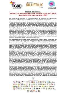 Alerta a las Autoridades ante posible rapto en Centro de Conversión o de tortura LGBT - Asociación Silueta X - Centro Psico Trans Ecuador - federación-1