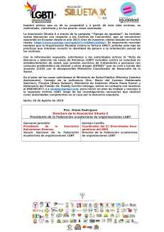 Alerta a las Autoridades ante posible rapto en Centro de Conversión o de tortura LGBT - Asociación Silueta X - Centro Psico Trans Ecuador - federación-2