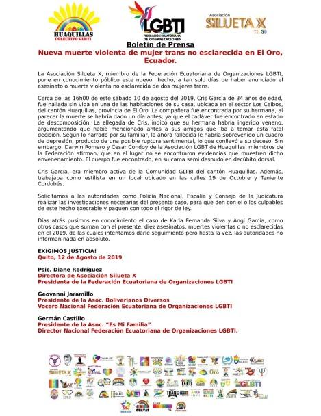 Nueva muerte violenta de mujer trans no esclarecida en El Oro, Ecuador..jpg