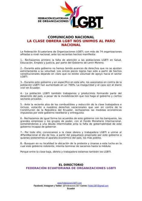 LA CLASE OBRERA LGBT NOS UNIMOS AL PARO NACIONAL - Federación Ecuatoriana de Organizaciones LGBTI-1