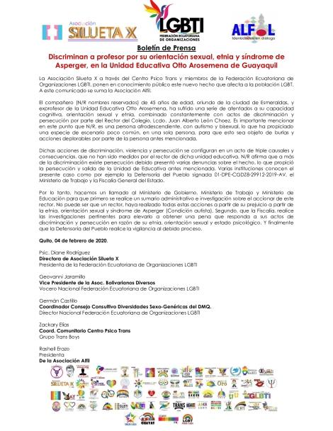 Boletín-de-Prensa-Discriminan-a-profesor-por-su-orientación-sexual_-etnia-y-síndrome-de-Asperger_ Federación LGBT Ecuador - Silueta X