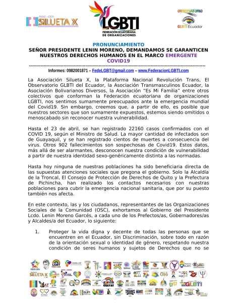 PRONUNCIAMIENTO - SEÑOR PRESIDENTE LENIN MORENO, DEMANDAMOS SE GARANTICEN NUESTROS DERECHOS HUMANOS EN EL MARCO EMERGENTE COVID19 - FEDERACION ECUATORIANA DE ORG. LGBT-1