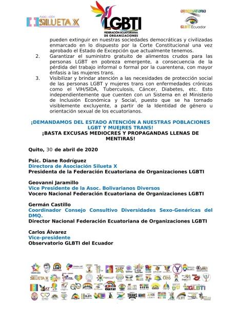 PRONUNCIAMIENTO - SEÑOR PRESIDENTE LENIN MORENO, DEMANDAMOS SE GARANTICEN NUESTROS DERECHOS HUMANOS EN EL MARCO EMERGENTE COVID19 - FEDERACION ECUATORIANA DE ORG. LGBT-2