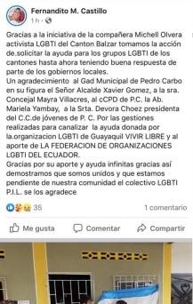 Colectivo PIL LGBT de Pedro Carbo, Isidro Ayora y Lomas de Sargentillo miembro de la Federación realiza gestiones para dar canastas de alimentos por Covid 19 en Ecuador 9