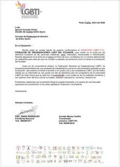 Colectivo PIL LGBT de Pedro Carbo, Isidro Ayora y Lomas de Sargentillo miembro de la Federación realiza gestiones para dar canastas de alimentos por Covid 19 en Ecuador