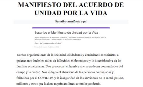 Manifiesto acuerdo por la vida - covid19 Ecuador