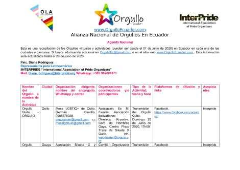 Comunicado - Agenda de la Alianza Nacional de Orgullos y actividades en el mes de junio En Ecuador - Orgullo Ecuador-1