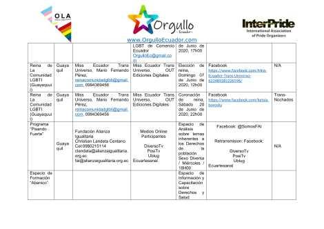 Comunicado - Agenda de la Alianza Nacional de Orgullos y actividades en el mes de junio En Ecuador - Orgullo Ecuador-3