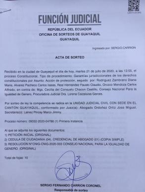 Acta de Sorte Jdicatura - ACCIÓN DE PROTECCIÓN CONTRA EL CONSEJO PARA LA IGUALDAD DE GÉNERO PARA LA CONFORMACIÓN DEL CONSEJO CONSULTIVO LGBTI - Asociación Silueta X Ecuador