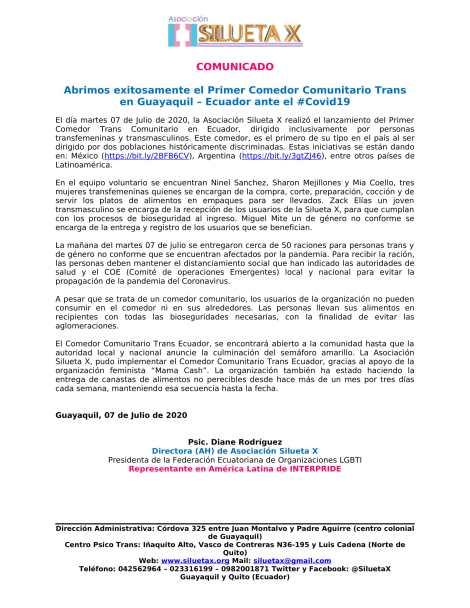 Boletín de Prensa - Abrimos exitosamente el Primer Comedor Comunitario Trans en Guayaquil – Ecuador ante el #Covid19 - Asociación Silueta X-1